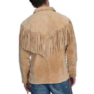 NGM Men's New Western Scully Fringe Suede Leather Shirt Jacket